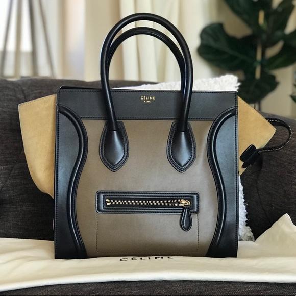 f7caa9ee23 Celine Handbags - Celine Multicolor Mini Luggage Black Olive
